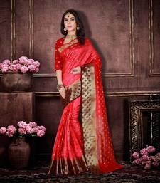 Buy Red woven banarasi saree with blouse karwa-chauth-saree online