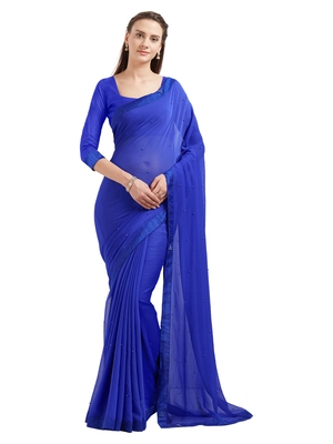 b1799fd64ded Royal blue embroidered chiffon saree with blouse - Mirchi Fashion - 2647959