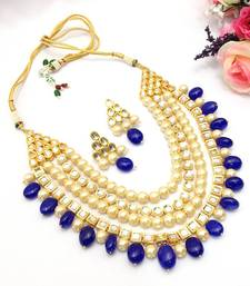 Kundan and pearls necklace set with blue stones necklace-set