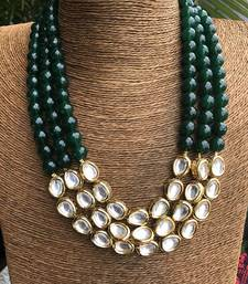 Buy Kundan and green onyx necklace Necklace online