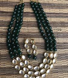 Buy Kundan and green onyx necklace set necklace-set online