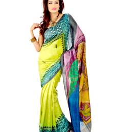 Buy Multicolor hand-painted silk saree silk-saree online