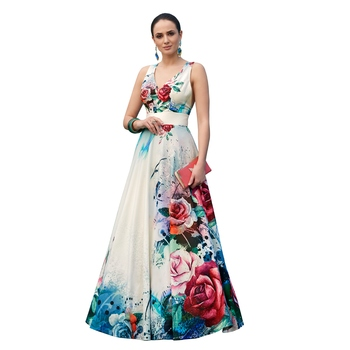 White digital print silk semi stitched gown