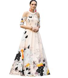 Peach digital print silk semi stitched gown