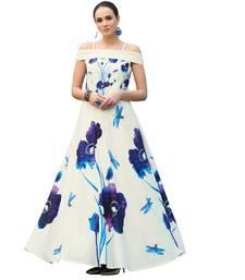White digital print silk semi stitched gown