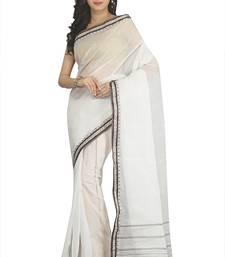 Buy Off white woven cotton saree bengali-saree online