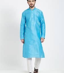 Blue Embroidered Kurta And White Churidar For Men