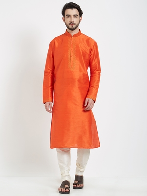 Orange Embroidered Kurta And White Churidar For Men