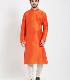 Orange Embroidered Kurta And White Churidar For Men