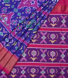 Buy Blue pochampally ikat silk handloom saree with blouse silk-saree online