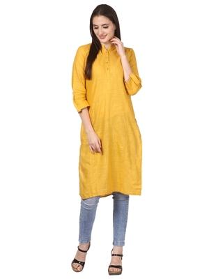 Yellow plain viscose kurti