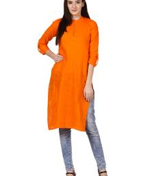 Orange plain viscose kurti