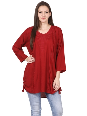 Red plain viscose kurti