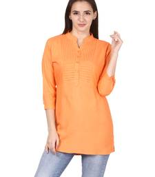 Orange plain viscose kurti