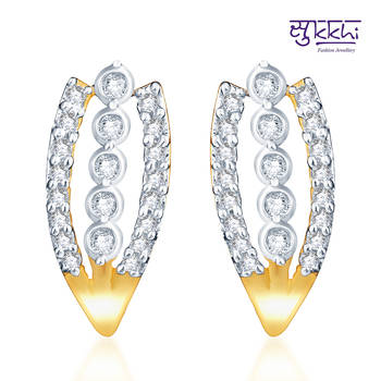 Sukkhi Classy Gold  and Rodium plated CZ Earrings