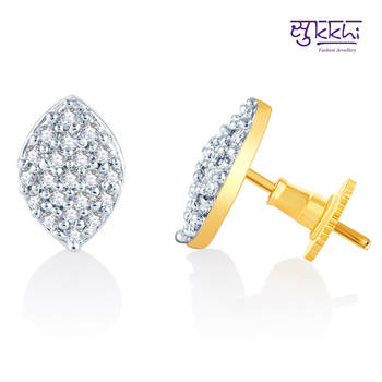 Sukkhi Classic Gold  and Rodium plated CZ Earrings