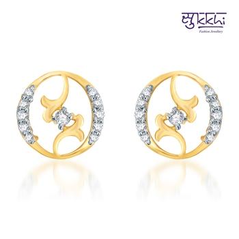 Sukkhi Moddish Gold  and Rodium plated CZ Earrings