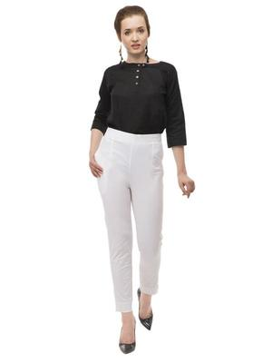 White cotton plain trousers