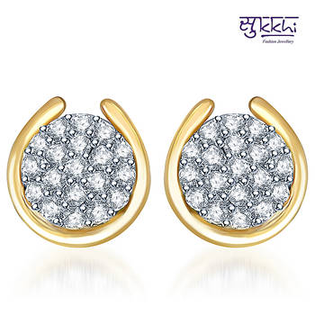Sukkhi Attractive Gold  and Rodium plated CZ  Studded Earrings