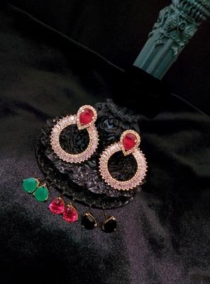 Chandbali Stone Ad Ear Rings