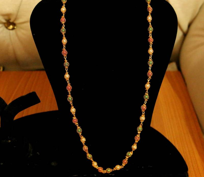 Kanjivaram Beads: Multicolour Beads Filigree Necklace
