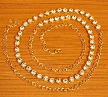 Single Line Zircon Studded Gold Plated Waist Belt