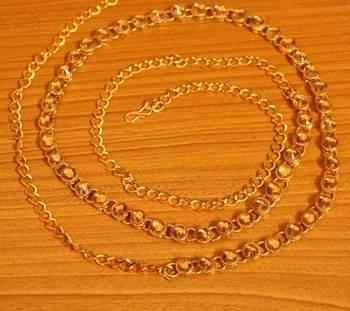 Gold Zircon Studded Gold Plated Single Line Waistbelt