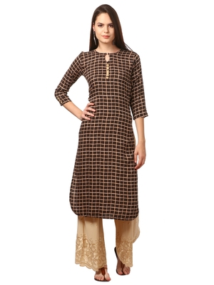 Brown printed viscose kurti