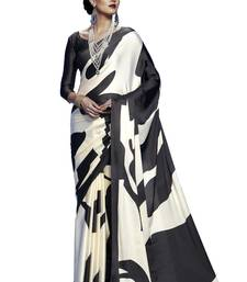 Buy Off white printed satin saree with blouse satin-saree online