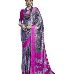 Buy Grey printed satin saree with blouse satin-saree online