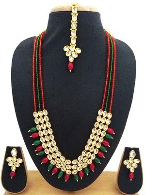 Red Green Crystal Kundan Designer 4pc jewellery Set