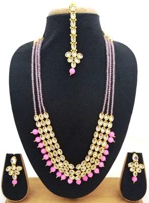 Baby Pink Crystal Kundan Designer 4pc jewellery Set