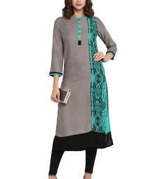 Buy Grey plain rayon long kurti long-kurtis online