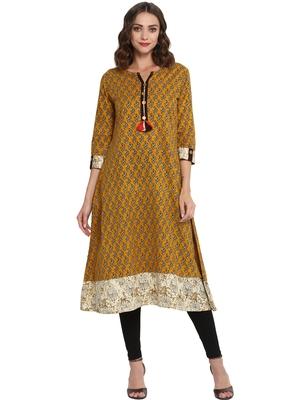 Mustard printed cotton long kurti