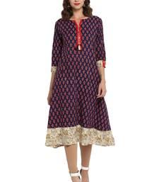 Buy Blue printed cotton long kurti long-kurtis online