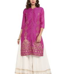 Wine plain chanderi long kurti