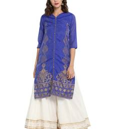 Blue plain chanderi long kurti
