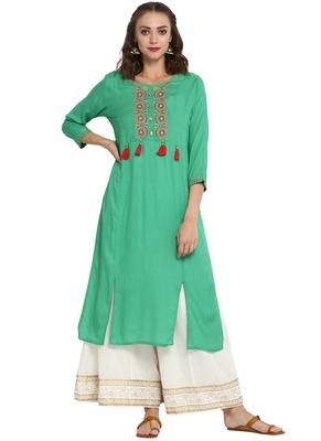 Turquoise embroidered viscose long kurti