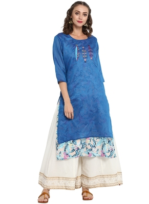 Blue printed chanderi long kurti