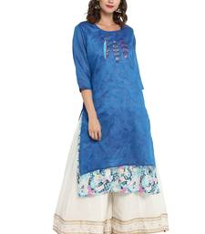 Blue printed chanderi long kurti
