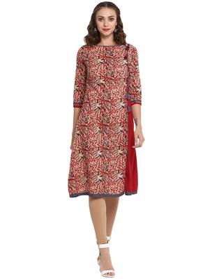 Red printed cotton long kurti