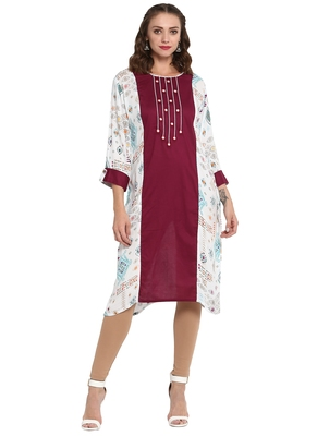 Maroon printed viscose long kurti