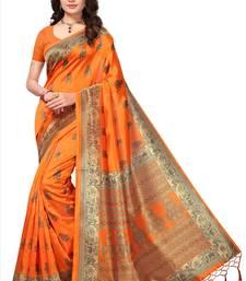 Orange printed art silk saree with blouse printed-saree