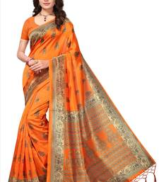 Buy Orange printed art silk saree with blouse printed-saree online