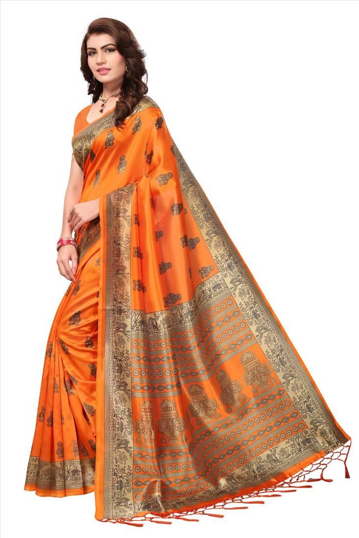 6d912989f230df Orange printed art silk saree with blouse - Blissta - 2650792