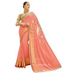 Peach And Printed Georgette  Saree With Blouse