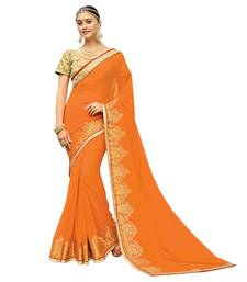 Orange And Printed Georgette Saree With Blouse