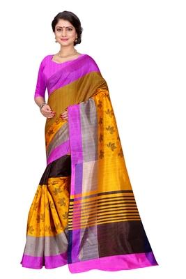 Yellow Printed Bhagalpuri Cotton Saree With Blouse