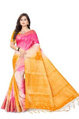 Light yellow woven banarasi cotton saree with blouse