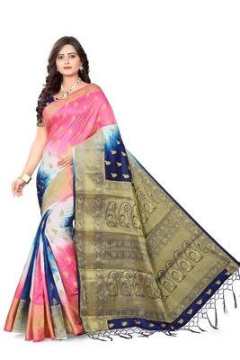 Navy blue woven banarasi cotton saree with blouse